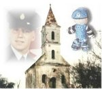 """Mark Isfeld in Croatia, photo 5 – On his first tour in Croatia, Mark Isfeld took this picture of a church that had been destroyed during the war in the former Yugoslavia. This collage shows one of the """"Izzy Dolls"""" Mark gave to the children, and a picture of the Memorial Cross awarded to Mark's mother Carol. An early picture of Mark at his graduation from Cornwallis at """"Boot Camp"""" finishes this graphic produced by Mark's father Brian."""