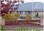 Mark R Isfeld Secondary School – Entrance to the Mark R Isfeld Secondary School, named officially on 22 October 2001. Photo by Brian Isfeld