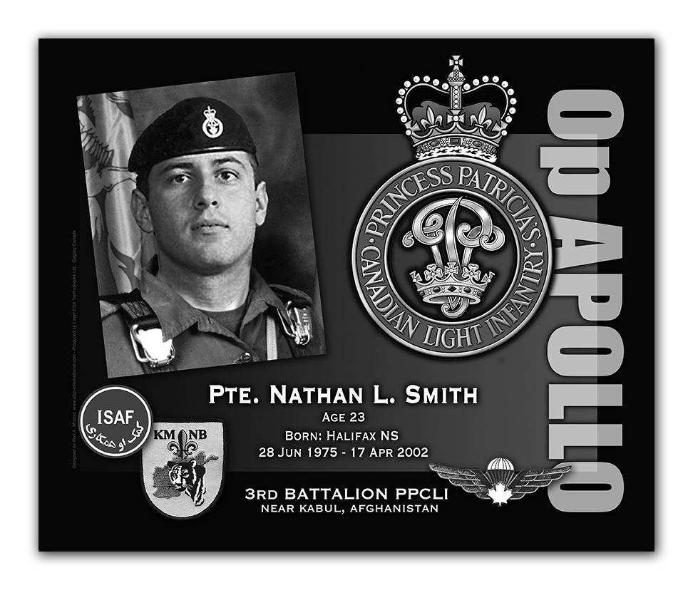 Memorial Plaque – By way of explanation, I am the artist who designed and created the KAF Memorial Plaques. As there does not seem to be a proper photo of Pte Nathan Smith as a jumper and proud member of the PPCLI, I took it upon myself to 'photoshop' an image so there is an available image of Pte Smith - dressed appropriately - as he would have liked.