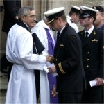 Memorial Service – Captain Bruce Murray, Canadian Forces Chaplain from Halifax Nova Scotia, greets sailors from HMCS CHICOUTIMI outside the Rhu and Shandon Parish Church in Rhu, Scotland. The sailors where attending a Memorial Service to honour the life of Lieutenant (Navy) Chris Saunders, a Combat Systems Engineer on board HMCS CHICOUTIMI.  Lt (N) Saunders passed away during the course of the medical evacuation to SLIGO Hospital in North-West Ireland. He was one of three individuals evacuated from the submarine for smoke inhalation injuries.Photo: MCpl Paul MacGregor Canadian Forces Combat Camera