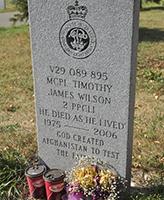 Grave Marker – MCpl Timothy James Wilson's grave marker in the Brandon Cemetery in September 2012.