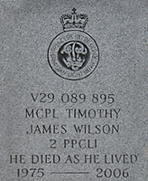 Grave Marker – MCpl Wilson's grave in October 2012 following cemetery clean-up in Brandon.