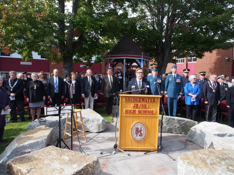 Memorial – The Cpl. Paul Davis memorial was unveiled Thursday Sept 25 2014 at the Bridgewater Junior Senior High School, where Cpl. Paul Davis was a student.