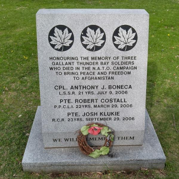 Memorial – Memorial - Waverley Park, Thunder Bay, ON - May 2018 … photo courtesy of Marg Liessens