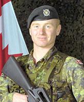 Photo of Kevin Megeney – Corporal Kevin Megeney, a reserve member of the 1st Battalion Nova Scotia Highlanders.