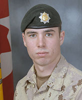 Photo of David Greenslade – Private David R. Greenslade, of the 2nd Battalion, the Royal Canadian Regiment was killed when his light armoured vehicle struck an improvised explosive device near the border between Helmand and Kandahar provinces. Photo: Canadian Forces Image Gallery