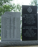 Memorial – Trooper Pentland is commemorated on the RCAC Memorial, Worthington Park, CFB Borden ON.
