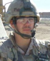 Photo of Joel Vincent Wiebe – Pte. Joel Vincent Wiebe heading out on a patrol in the Panjwaii District Afghanistan, Spring 2007.