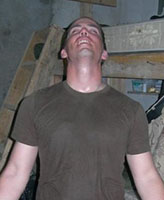 Photo of Joel Vincent Wiebe – Pte. Joel Vincent Wiebe after walking over 17 KM during a patrol in the Panjwaii District Afghanistan, Spring 2007.