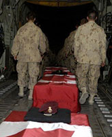 Ramp Ceremony – RAMP Ceremony at Kandahar Airfield - our heroes begin the long journey home to Canada. June 21, 2007