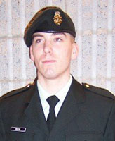 Photo of Joel Vincent Wiebe – Pte. - graduating from Basic Training at St. Jean Quebec December 2004.