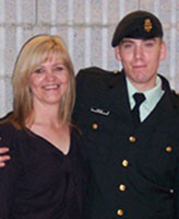 Group Photo – Pte. Joel Vincent Wiebe and his very proud Mom, Sherry Clark attending Joel's graduation from Basic Training at St. Jean Quebec December 2004.