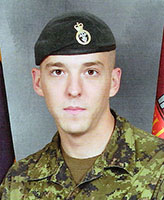 Photo of Stephen Bouzane – Corporal Stephen Frederick Bouzane, of Charlie Company, 3rd Battalion Princess Patricia's Canadian Light Infantry (3 PPCLI) from CFB Edmonton. Corporal Bouzane was one of three Canadian soldiers killed when the vehicle they were traveling in struck an improvised explosive device on the main road, approximately 6 km west of Forward Operating Base Sperwan-Gar. The incident occurred at approximately 7:49 am on June 20, 2007 while the soldiers were conducting resupply operations between checkpoints.  The Charlie Company, 3 PPCLI members are part of the 2nd Battalion Royal Canadian Regiment (2 RCR) Battle Group of the Joint Task Force Afghanistan (JTF-Afg).  Photo By: CFB Edmonton, Garrison Imaging