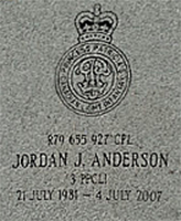 Grave Marker – Gravesite of Cpl Jordan Anderson
