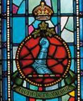 Memorial Stained Glass – Ex-cadets are named on the Memorial Arch at the Royal Military College of Canada in Kingston, Ontario and remembered in memorial stained glass windows to fallen comrades.