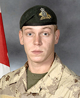 Photo of Michel Lévesque – Private Michel Jr. Lévesque was killed on 17 November, 2007 when the vehicle he was traveling in, a LAV III, struck an Improvised Explosive Device. The incident occurred around 12 a.m. Kandahar time, approximately 40 km West of Kandahar city in the vicinity of MaÕsum Ghar. Pte. Levesque, was 25 years of age and a member of 3 R22eR, based in Valcartier, Quebec.  Photo: Canadian Forces Image Gallery