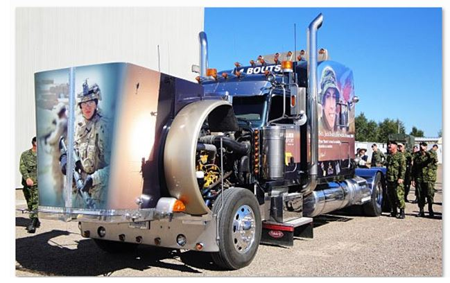 "– A large truck customized by Raynald Bouthillier to honour his son Trooper Jack ""Bouts"" Bouthillier who was killed in Afghanistan in 2009. Photo: Department of National Defence."