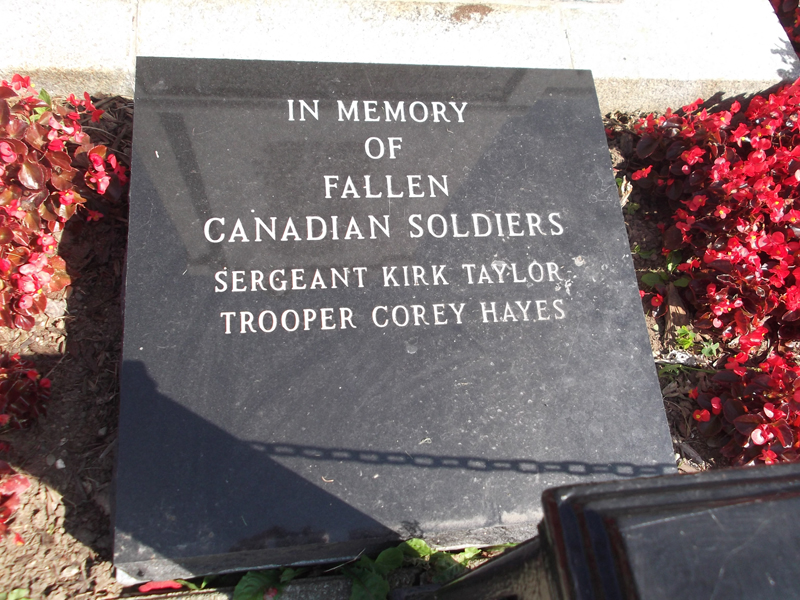 War Memorial – Tpr Corey Hayes is commemorated on the War Memorial Yarmouth, NS