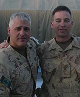 Group Photo – Sgt. Matt Harris (left) and WO Dennis Brown (Right).  Photo taken Feb. 2009, at CNS (Camp Nathan Smith) Afghanistan.  (Task Force 3-08).