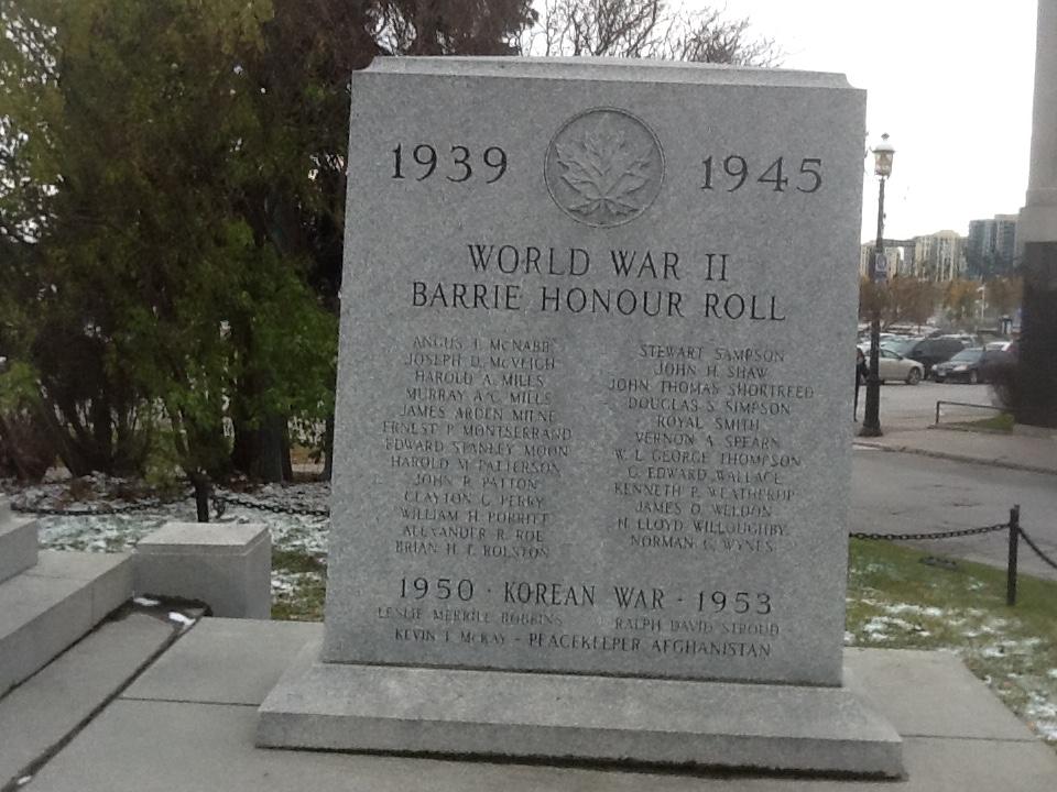 War Memorial – Barrie, Ontario