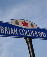 Brian Collier Way – A street sign on Brian Collier Way, which runs between (and provides access to) the Bradford West Gwillimbury Leisure Centre and the Library and Cultural Centre, in Bradford, Ontario.  Depicted near the top of the sign are the Canadian Armed Forces' badge, a red Canadian maple leaf and the Canadian Military Engineers' badge.  (Image taken by Gregory J. Barker of Barrie, Ontario, in 2012.)