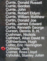 Memorial – Pilot Officer Jack Cutmore is also commemorated on the Bomber Command Memorial Wall in Nanton, AB … photo courtesy of Marg Liessens