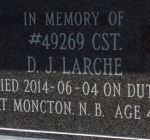 In Memory of Constable D J Larche – Door plate on columbarium erected inside the Memorial Archway.  Photo courtesy of www.rcmpgraves.com