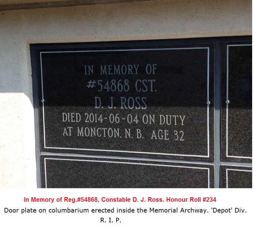In Memory of Constable D J Ross