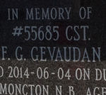 In Memory of Constable F G Gevaudan – Door plate on columbarium erected inside the Memorial Archway. Photo courtesy of www.rcmpgraves.com