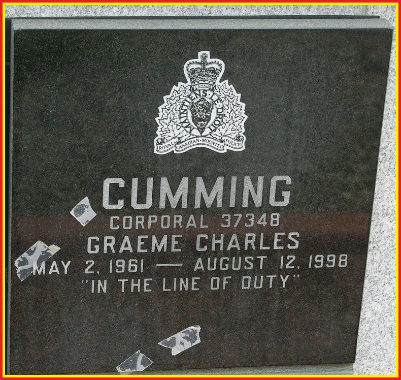 Corporal Cumming's Memorial Plaque on the entrance wall at 'Depot' Cemetery, Regina, SK