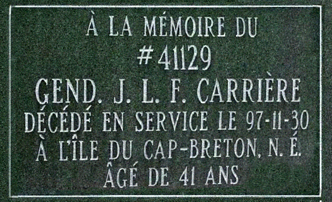 Constable Carrière's Memorial Plaque at Depot Cemetery, Regina, SK – Photo courtesy of www.rcmpgraves.com