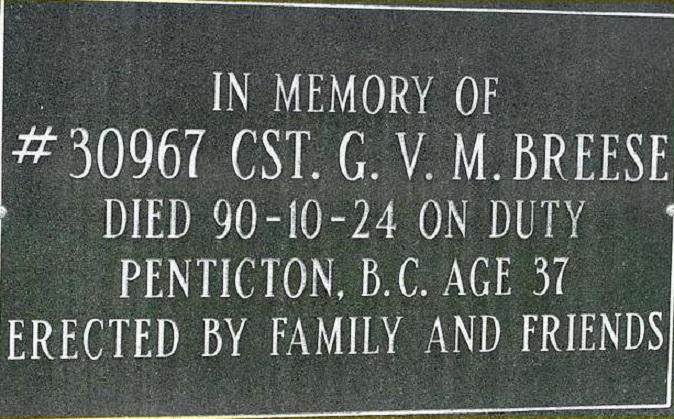 Constable Breese's Memorial Plaque