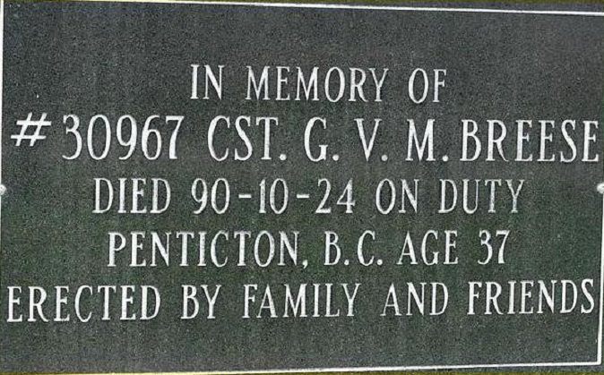 Constable Breese's Memorial Plaque – Photo courtesy of www.rcmpgraves.com