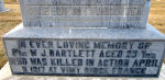 Memorial – [Memorial Family marker at the Mountain View Cemetery in Lethbridge, Alberta, Canada]  GONE BUT NOT FORGOTTEN  IN EVER LOVING MEMORY OF Pte W J BARTLETT AGED 23 Yrs WHO WAS KILLED IN ACTION APRIL 9, 1917 AT VIMY RIDGE FRANCE