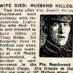 Coupure de presse – Le Sdt Joseph Frank Beechwood est né à Buffalo (États-Unis) le 24 août 1893. Imprimeur de métier, il s'est enrôlé dans le 97e bataillon outre-mer, que l'on appelait à l'époque la Légion américaine. Ces unités étaient composées de soldats ayant des liens avec les États-Unis. Le Sdt Beechwood s'est enrôlé le 14 décembre 1915, à Toronto.