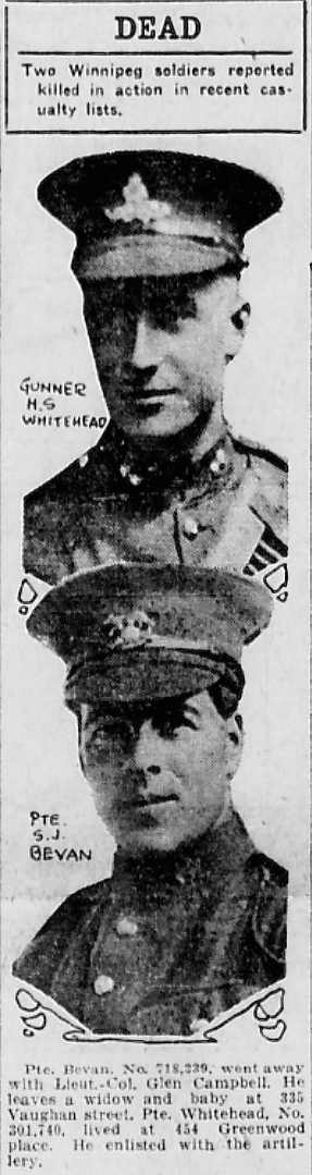 Newspaper Clipping – In memory of the men and women memorialized on the pages of the Winnipeg Evening Tribune during World War One. Submitted for the project, Operation: Picture Me