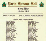 Roll of Honour – This Roll of Honour appeared in the pamphlet distributed at the Paris Ontario War Memorial's unveiling and dedication ceremony on November 11th, 1930.