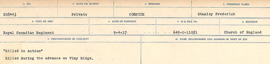 Circumstances of Death Registers – Source: Library and Archives Canada.  CIRCUMSTANCES OF DEATH REGISTERS, FIRST WORLD WAR Surnames:  CORBI TO COZNI.  Microform Sequence 23; Volume Number 31829_B016732. Reference RG150, 1992-93/314, 167.  Page 161 of 900.