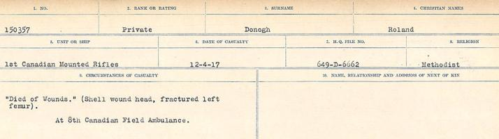 Circumstances of death registers – Source: Library and Archives Canada. CIRCUMSTANCES OF DEATH REGISTERS, FIRST WORLD WAR. Surnames: Don to Drzewiecki. Microform Sequence 29; Volume Number 31829_B016738. Reference RG150, 1992-93/314, 173. Page 173 of 1076. He was buried just South East of Neuville-St-Vaast, 3 ¼ miles North of Arras.  Subsequently, his body was exhumed and buried in LA CHAUDIERE MILITARY CEMETERY.