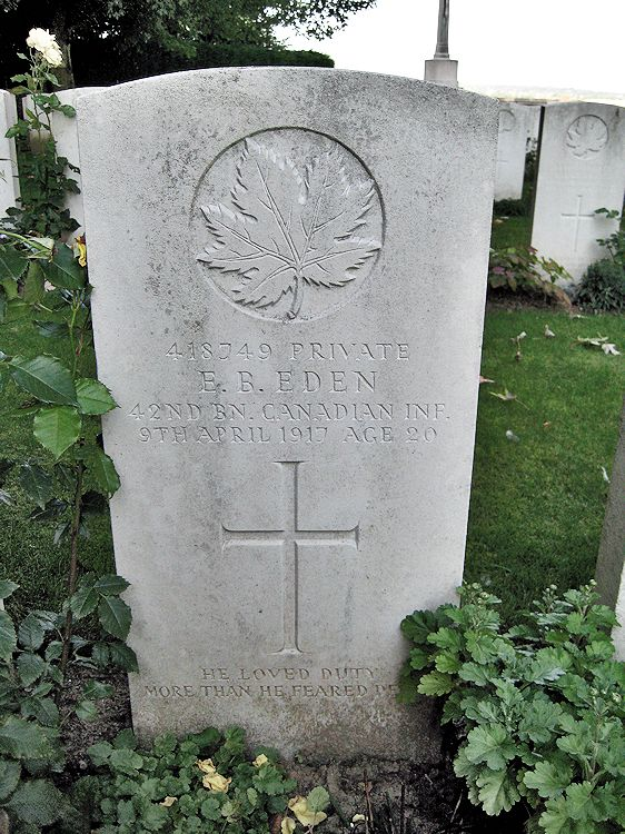 Grave Marker – The grave marker at La Chaudiere Military Cemetery located at the foot of Vimy Ridge, very near the town of Vimy, France. The cemetery is 13 kilometres north of Arras, France. May he rest in peace. (John & Anne Stephens 2013)