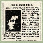 "Newspaper Clipping – Pte. William Floyd Gilbo enlisted in the 97th Battalion.  This unit was one of the  ""American Legion"" battalions that recruited men with American origins."