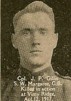 Photo of Joseph Peter Gillis – From the book, Catholics of the Diocese of Antigonish, Nova Scotia and the Great War 1914- 1919.  Submitted for the project, Operation: Picture Me