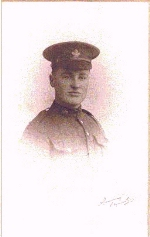 Photo of George Alfred Harwood – George's picture taken in early 1917 before joining his unit 2nd CMR on their way to Vimy Ridge.  He died on the first day of the invasion April 9, 1917.