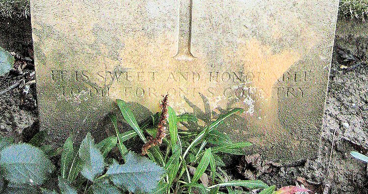 "Inscription – Epitaph: ""It Is Sweet and Honorable to Die for One's Country""  (John & Anne Stephens 2013)"