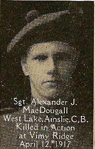 Photo of Alexander McDougall – From the book, Catholics of the Diocese of Antigonish, Nova Scotia and the Great War 1914- 1919.