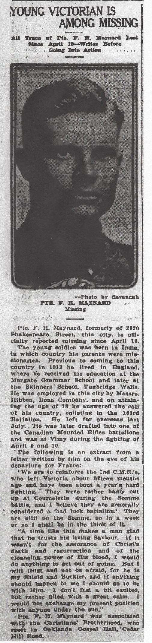 Newspaper clipping – From the Daily Colonist of May 1, 1917. Image taken from web address of http://archive.org/stream/dailycolonist59y122uvic#page/n0/mode/1up