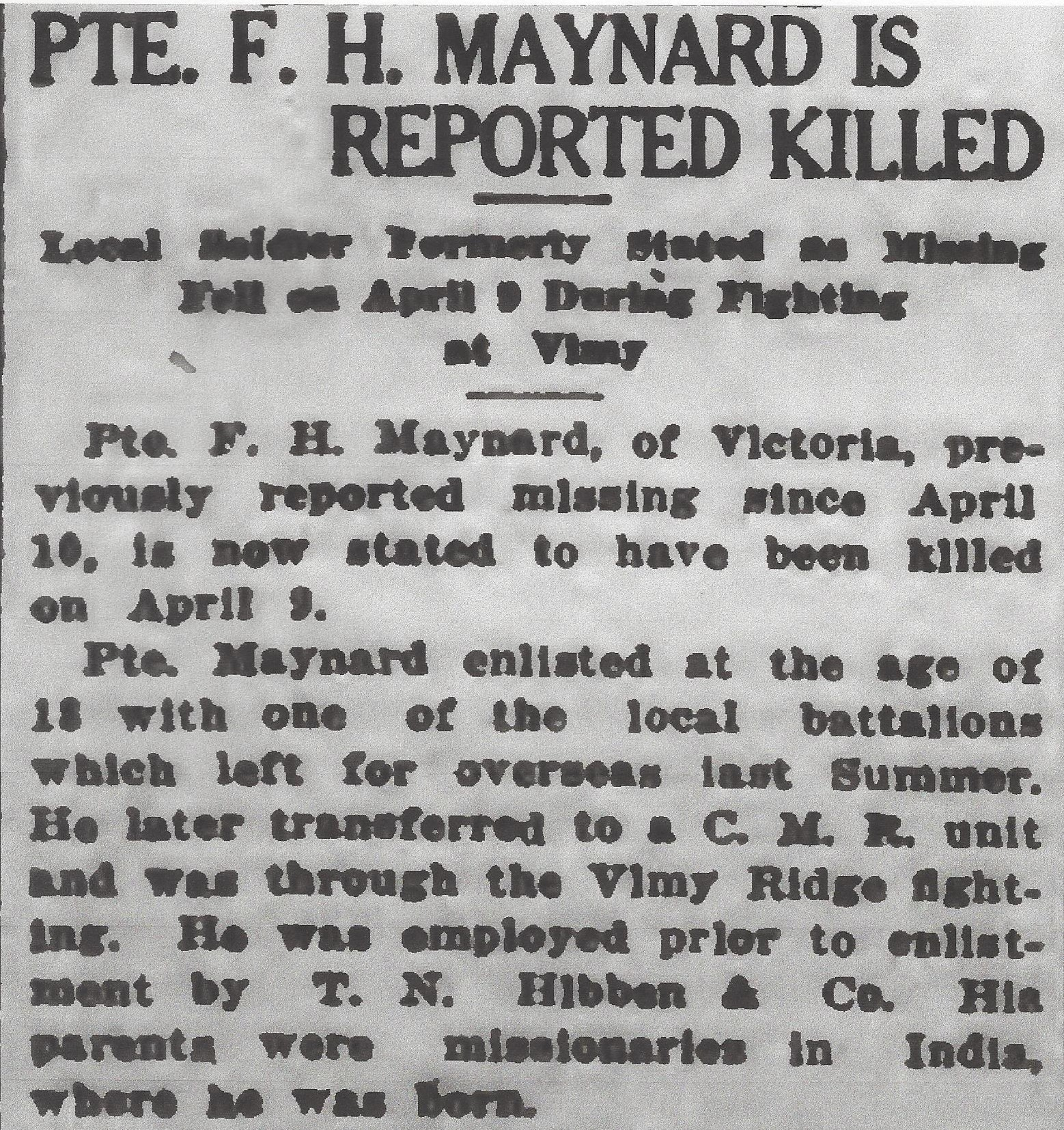Newspaper clipping – From the Daily Colonist of May 3, 1917. Image taken from web address of http://archive.org/stream/dailycolonist59y124uvic#page/n0/mode/1up