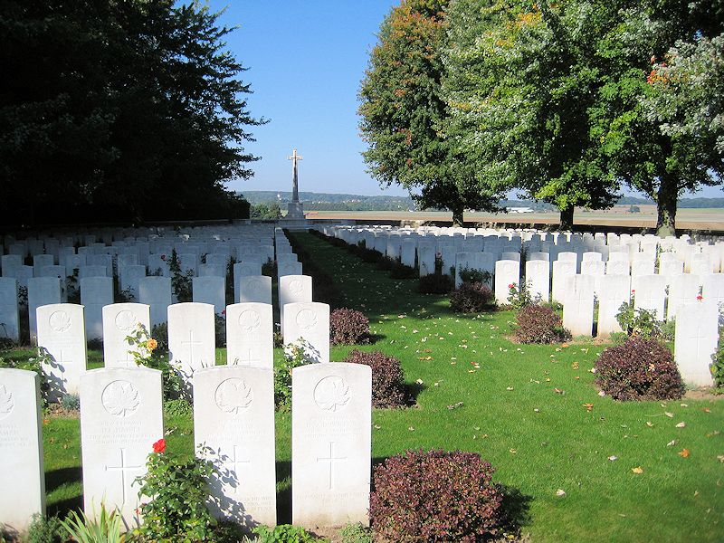 Cemetery – La Chaudiere Military Cemetery is located at the foot of Vimy Ridge, very near the town of Vimy, France. The cemetery is 13 kilometres north of Arras, France. May they rest in peace. (John & Anne Stephens 2013)