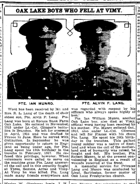 Newspaper Clipping – Manitoba Free Press, May 25, 1917