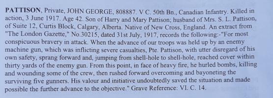 Excerpt – CWGC write up in cemetery registry.